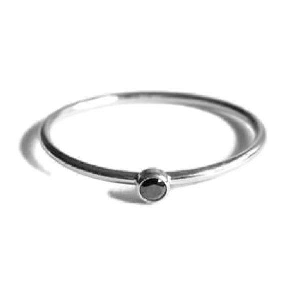 Gnoes | Ring zwarte zirkonia sterling zilver