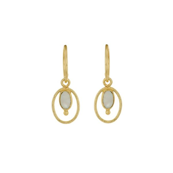 Muja Juma Earring geo oval + ball with Ruby