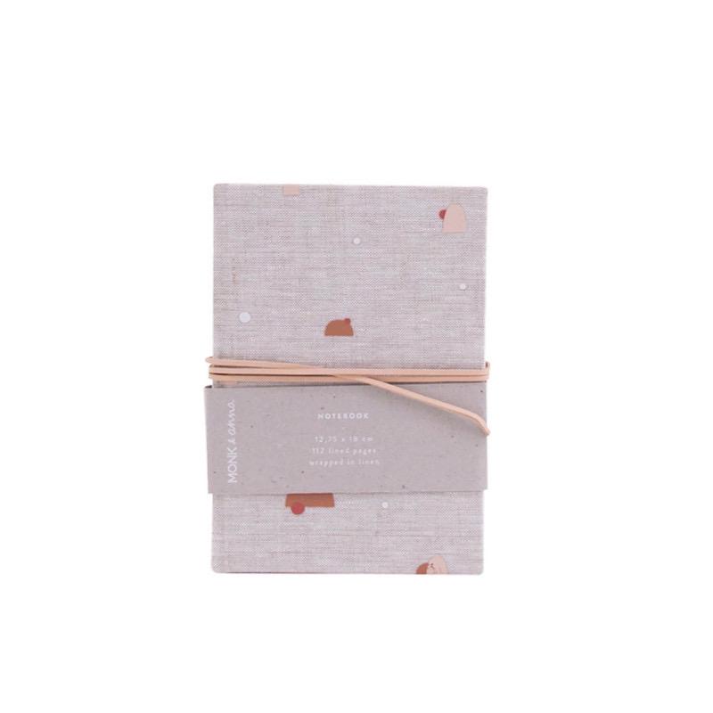 Notebook S natural linen handdrawn pattern Monk&Anna