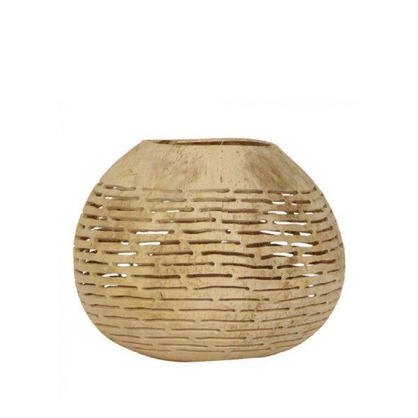 Kokosnoot waxinelichthouder Haki | Earthware