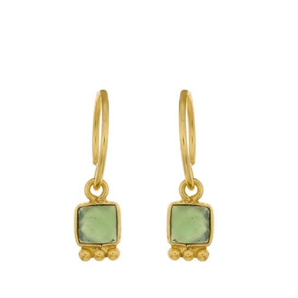 Earring Square Dark nefrite goldplated | Muja Juma