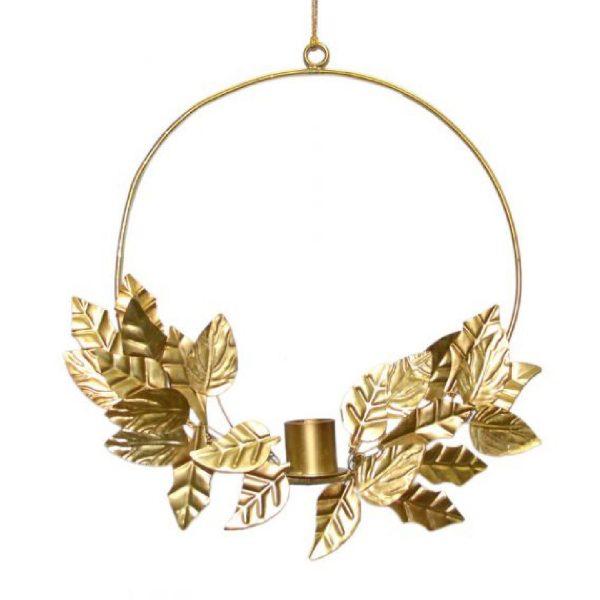 Kranskandelaar met blad   Brass