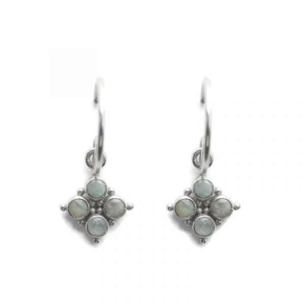 Earring 2mm stones and dots amazonite zilver | Muja Juma