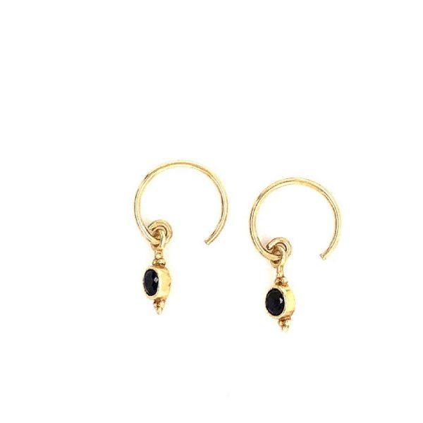 Earring 2mm stone and dots black zirkonia goldplated | Muja Juma