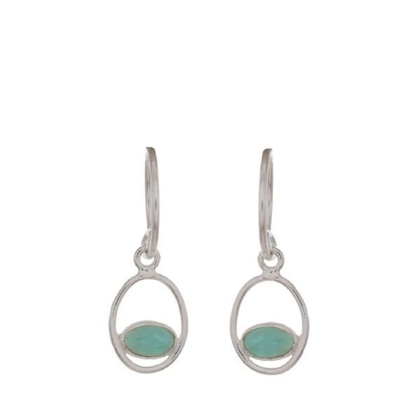 Earring geo oval + ball with Amazoniet silver | Muja Juma