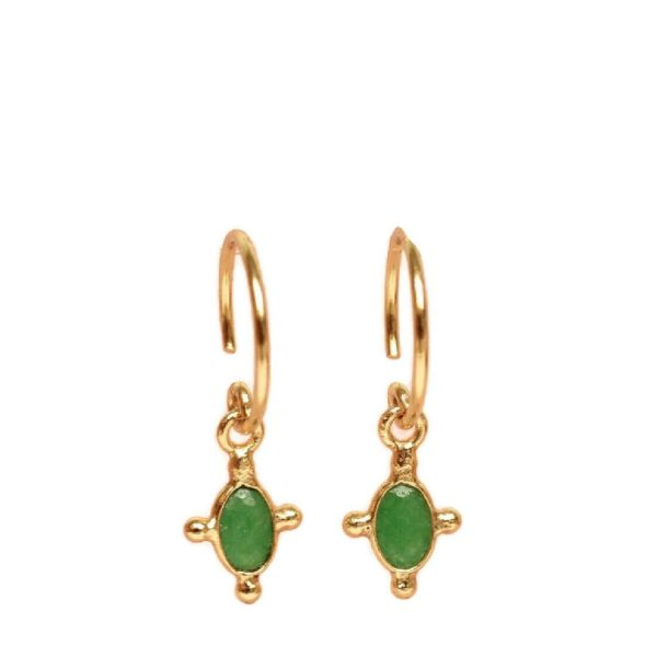 Earring green zed vertical oval goldplated | Muja Juma