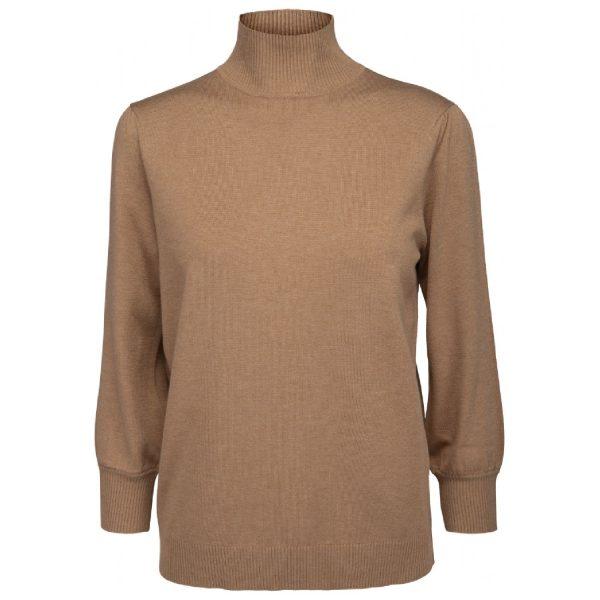 Mersin rollneck knit tee Almond Melange | Minus