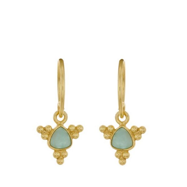 Earring Triangle Flower Amazonite goldplated | Muja Juma