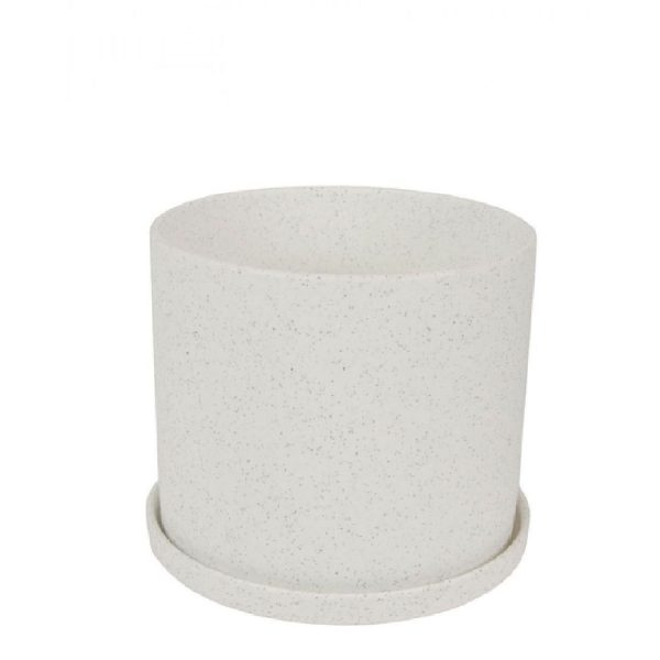 Bloempot mat met schotel | Wit