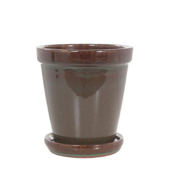 Plantpot met schotel | Bruin