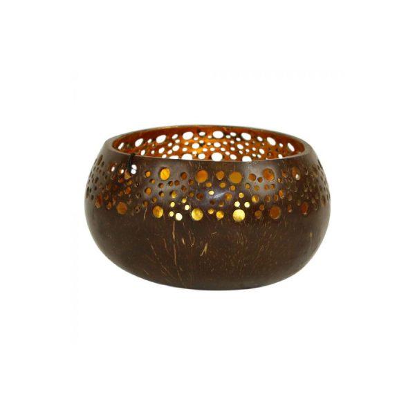 Kokosnoot waxinelichthouder Coco Gold | Earthware