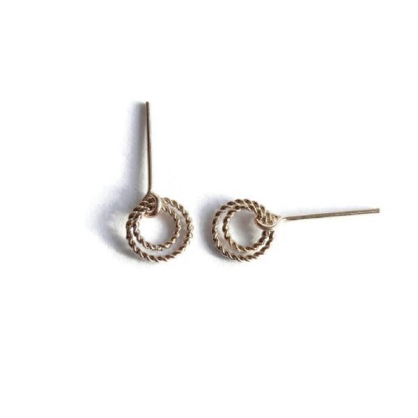 Studs gold filled two twisted rings | Gnoes
