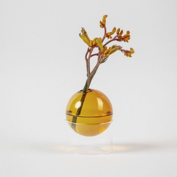 Standing Flower Bubble Low Tube Amber | Studio About