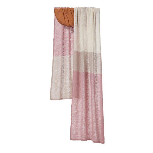 Dusty Pink Knitted Block Stripe   Bufandy